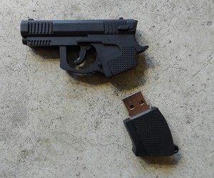 gun, usb, and grunge image