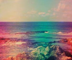 beach, love, and landscape image