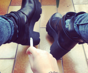 black, boots, and cigarette image