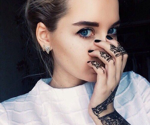 blue eyes, girl, and tattoo image