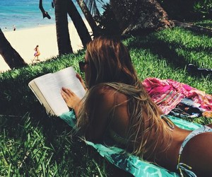 summer, girl, and book image