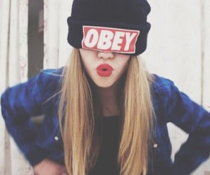 obey, blue, and hair image