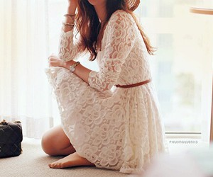 beautiful, lace dress, and pretty girl image