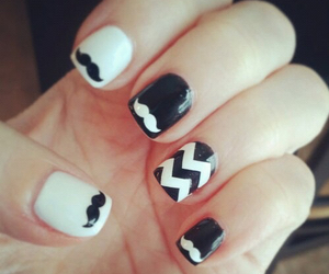 nails, mustache, and black image