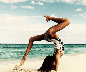 beach, girl, and yoga image