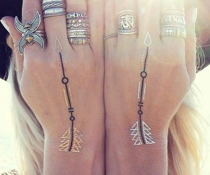 boho, rings, and tattoo image