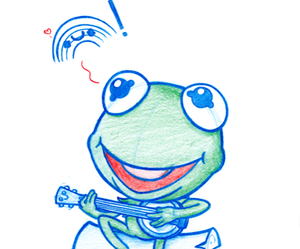 chibi, drawing, and kermit the frog image