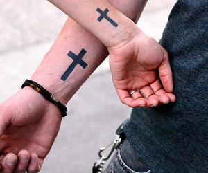 tattoo, cross, and couple image