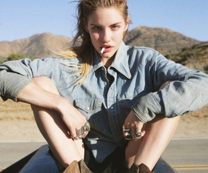 girl, model, and smoke image
