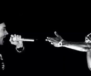 2pac, black and white, and eminem image