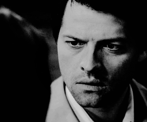 black and white, supernatural, and castiel image