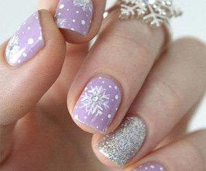 winter nails, snowflake nails, and winter black nails image
