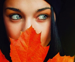 eyes, leaves, and autumn image