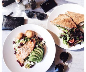 food, healthy, and sunglasses image
