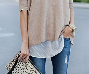 clutch, outfit, and denim image