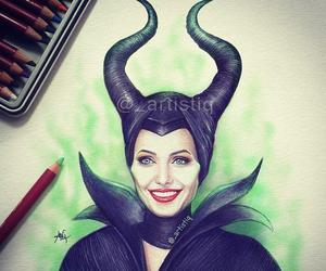 maleficent, Angelina Jolie, and drawing image