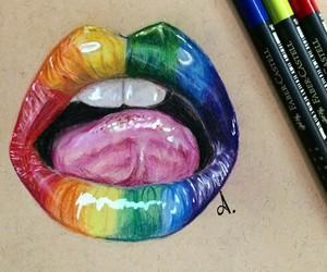 art, lips, and pencils image