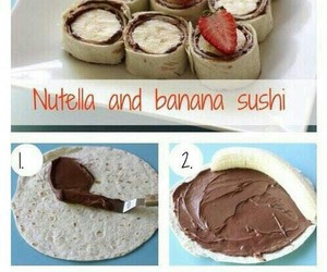 nutella, banana, and food image