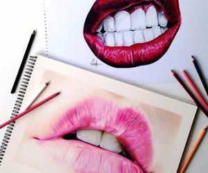 drawings, art, and lips image