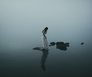 water, lake, and woman image
