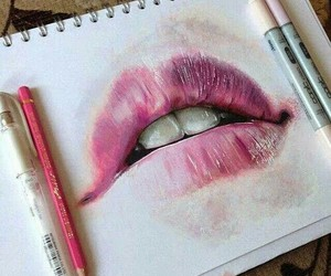 art, crayons, and lips image