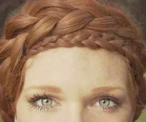 hair, braid, and eyes image