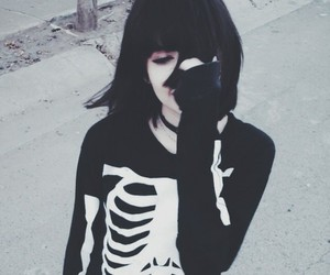 black, skeleton, and grunge image