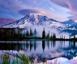 mountains, nature, and reflection image