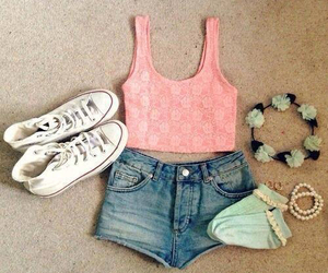 outfit, converse, and pink image
