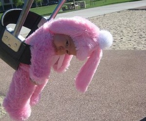 baby, bunny, and pink image