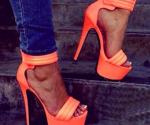 heels, shoes, and orange image