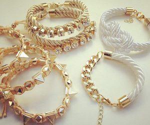 bracelet, gold, and white image