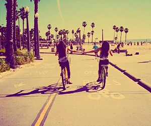 beach, bicycle, and friendship image