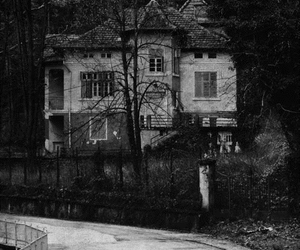 house, black and white, and dark image