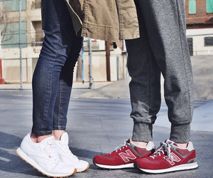 couple, sneakers, and love image