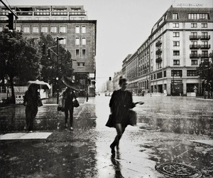 rain, black and white, and city image