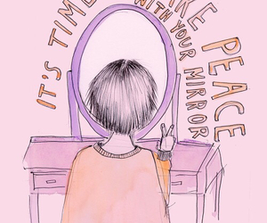 peace, mirror, and pink image