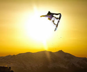 snowboard and sunset image