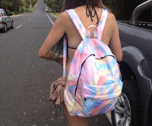 girl, backpack, and tumblr image