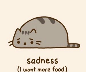pusheen, food, and sadness image