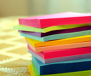 colourful, rainbow, and post-its image