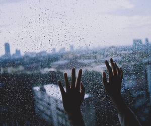 rain, hands, and city image