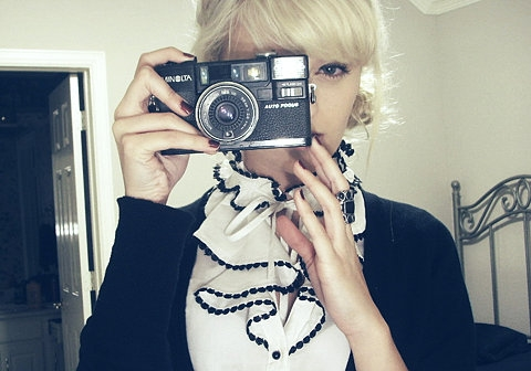 camera, girl, and blonde image
