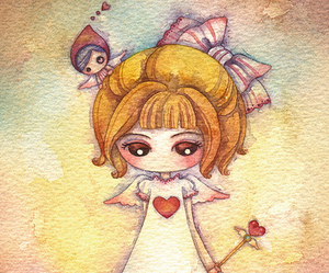 heart, cupid, and girl image