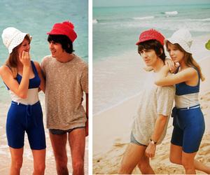 george harrison, pattie boyd, and beach image