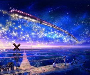 anime, train, and stars image