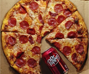 pizza, food, and dr pepper image