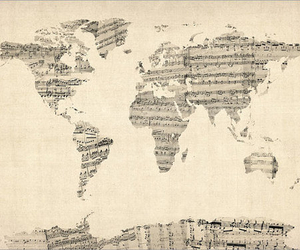 music, world, and map image