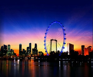 by night, singapore, and singapore flyer image