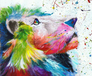 lion, colourful, and paint image